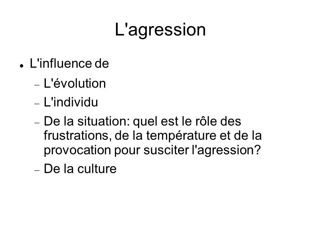 L'agression L'influence de L'évolution L'individu De la situation: quel est le rôle des frustrations, de la température et de la provocation pour susc