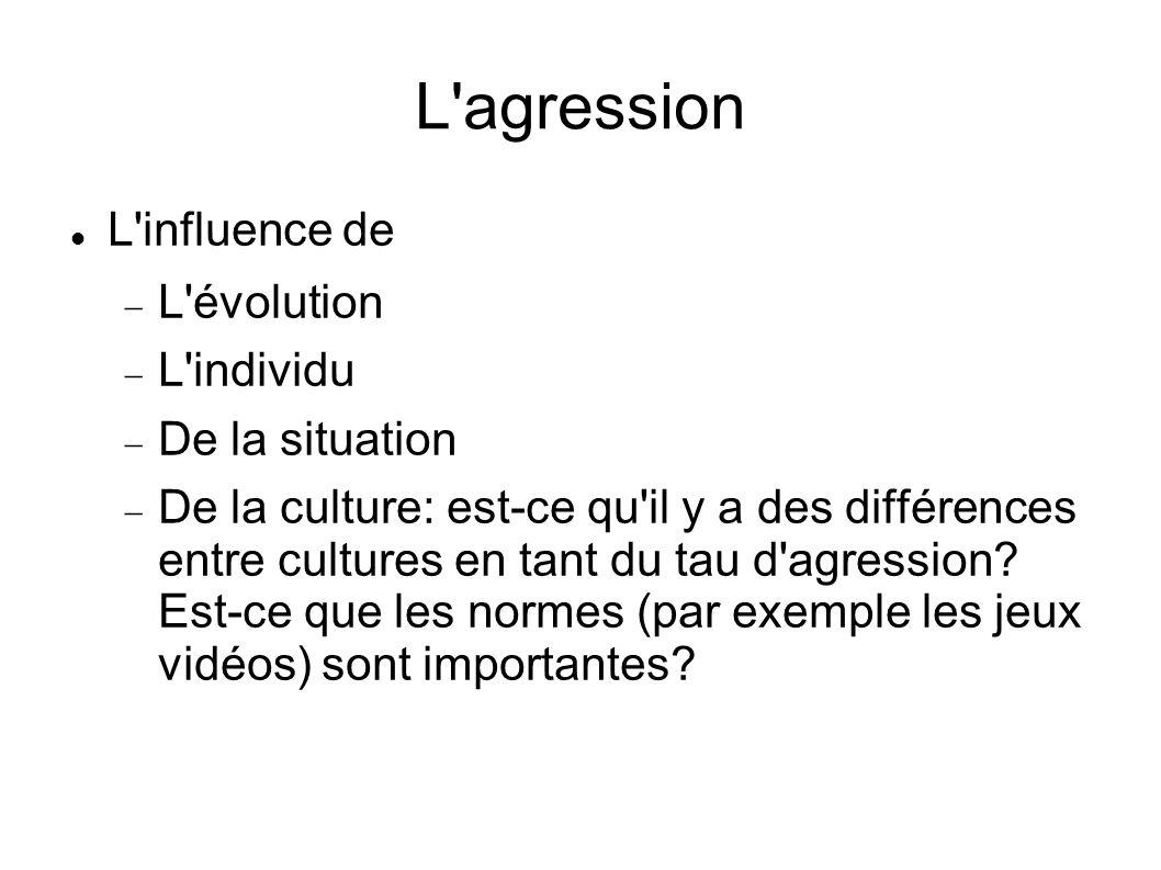 L'agression L'influence de L'évolution L'individu De la situation De la culture: est-ce qu'il y a des différences entre cultures en tant du tau d'agre