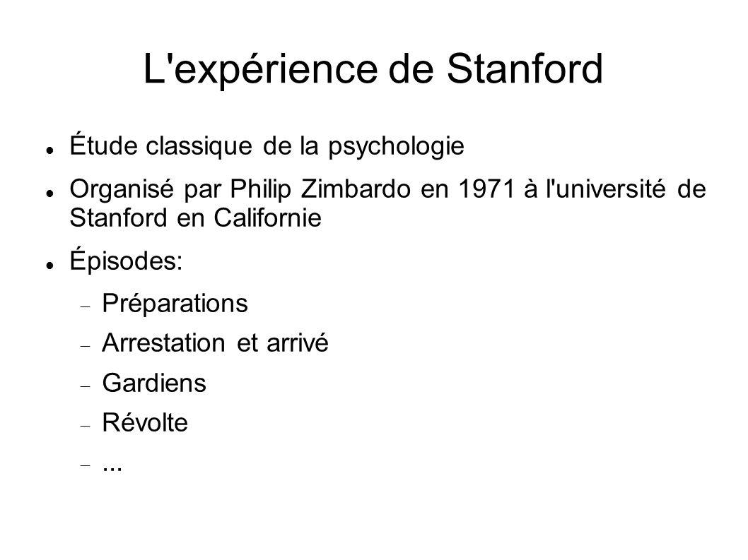 L'expérience de Stanford Étude classique de la psychologie Organisé par Philip Zimbardo en 1971 à l'université de Stanford en Californie Épisodes: Pré