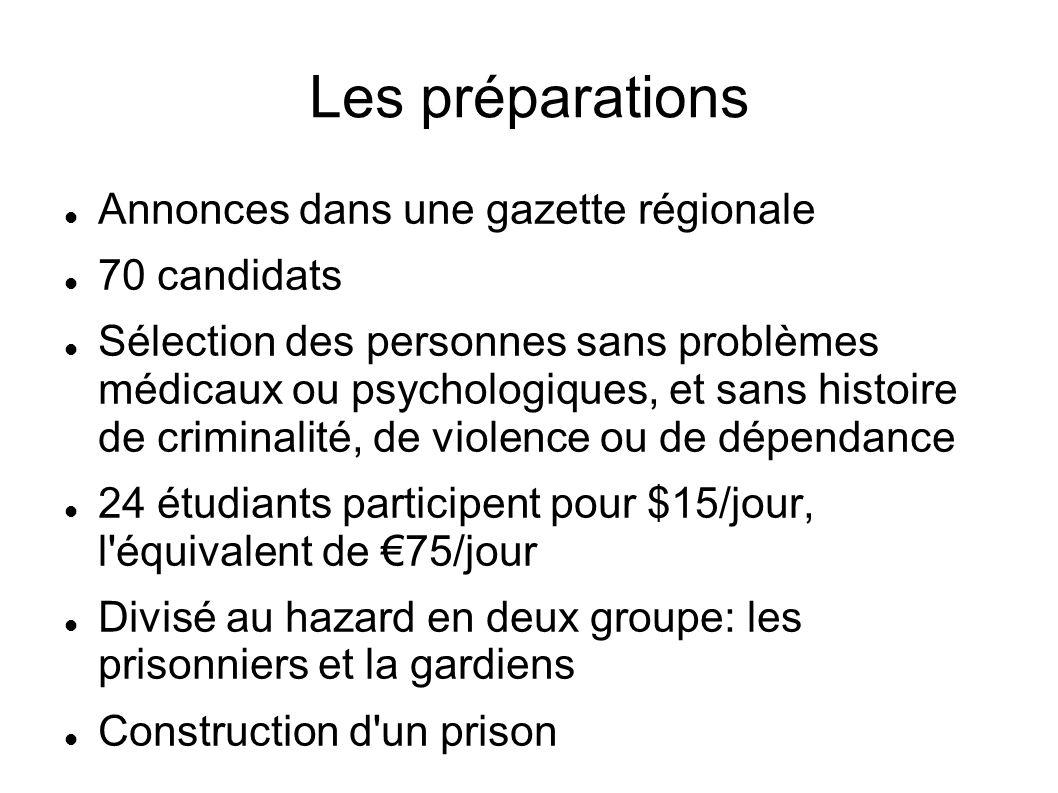 Les préparations Annonces dans une gazette régionale 70 candidats Sélection des personnes sans problèmes médicaux ou psychologiques, et sans histoire