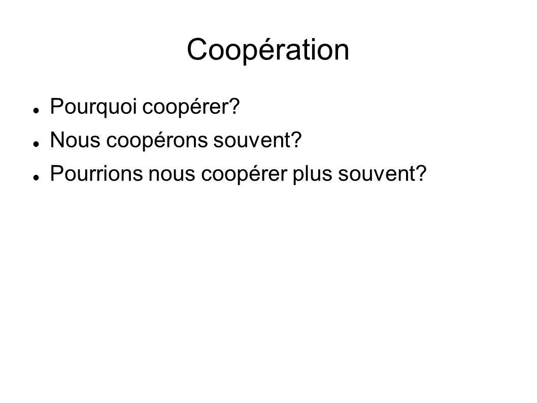 Coopération Pourquoi coopérer? Nous coopérons souvent? Pourrions nous coopérer plus souvent?