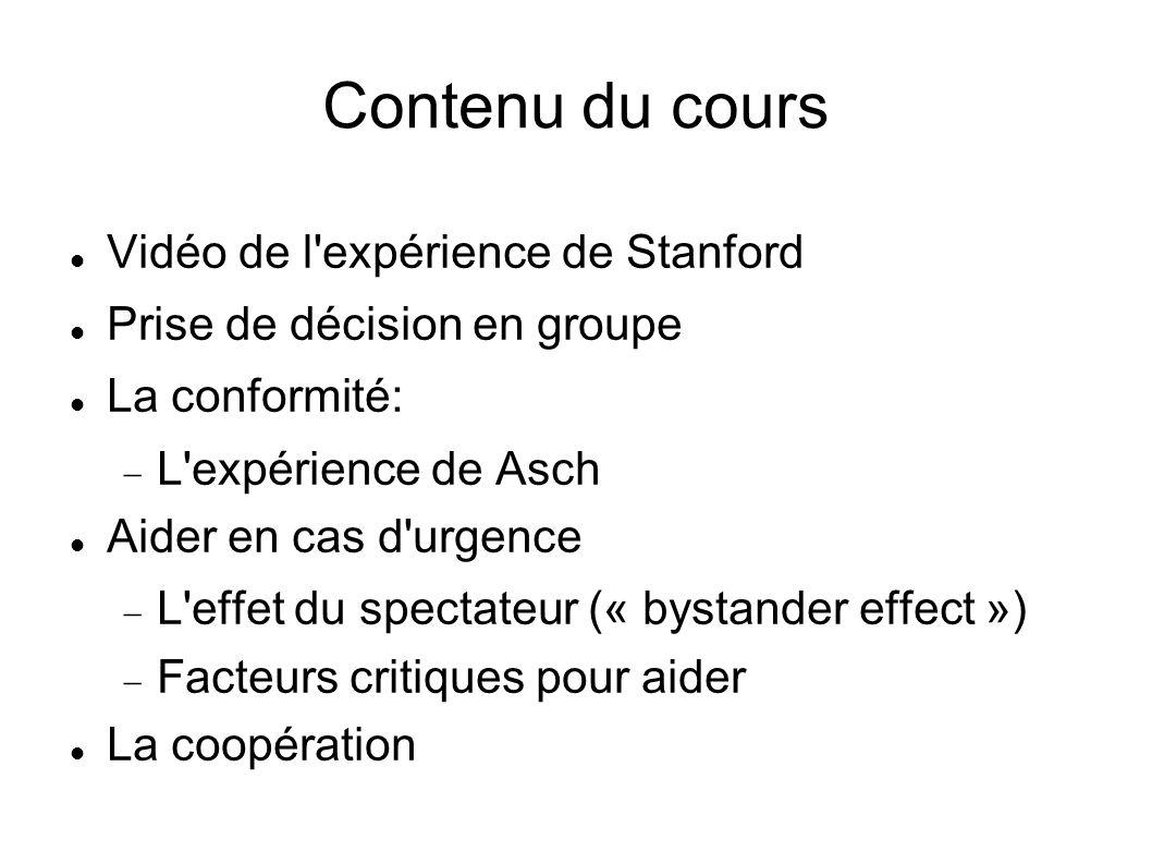 Contenu du cours Vidéo de l'expérience de Stanford Prise de décision en groupe La conformité: L'expérience de Asch Aider en cas d'urgence L'effet du s
