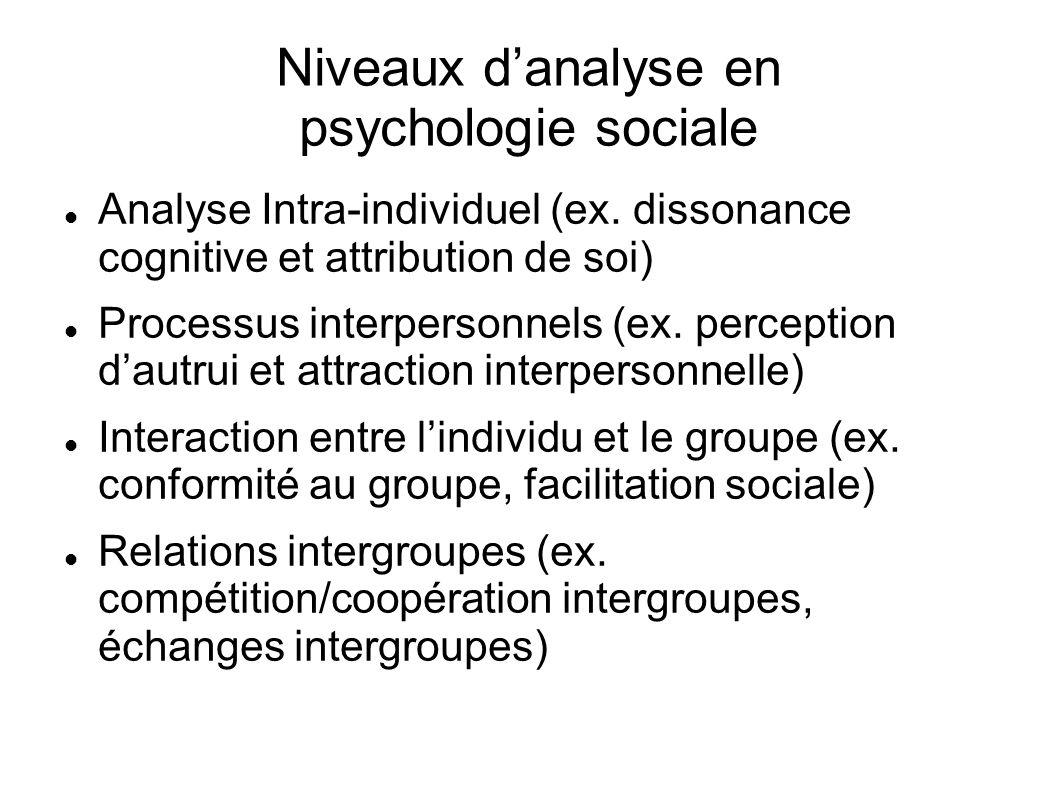 Niveaux danalyse en psychologie sociale Analyse Intra-individuel (ex. dissonance cognitive et attribution de soi) Processus interpersonnels (ex. perce