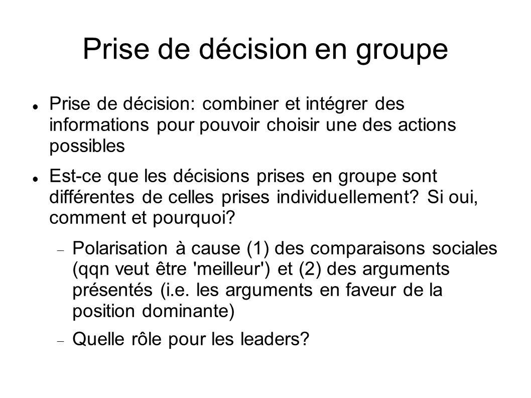 Prise de décision en groupe Leadership: Intelligent/e, créative, bons compétences verbales Compétences sociales Ambitieux/se Le style du leader: orientation socio-émotionelle ou orientation de tache Pourquoi est-ce que un groupe prend parfois une décision désastreuse?