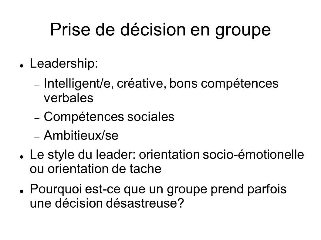 Prise de décision en groupe Leadership: Intelligent/e, créative, bons compétences verbales Compétences sociales Ambitieux/se Le style du leader: orien