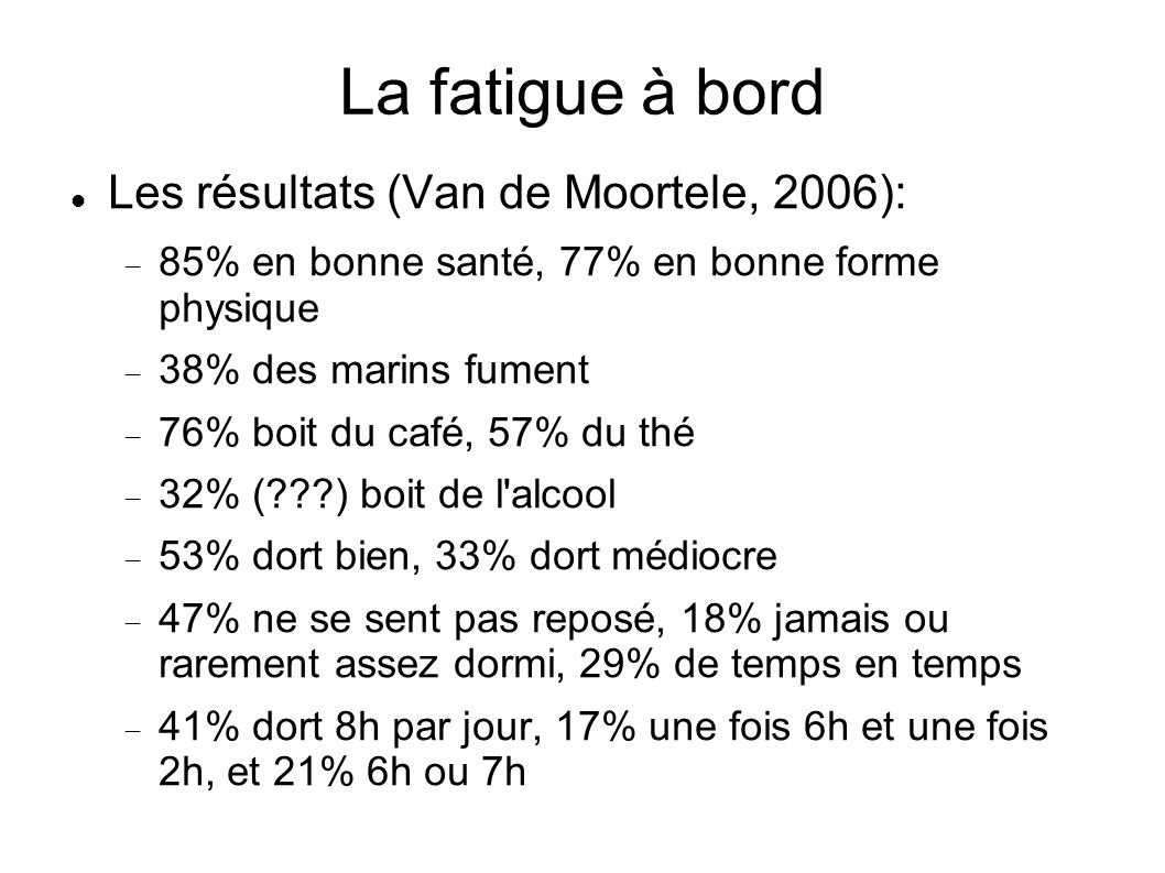 La fatigue à bord Les résultats (Van de Moortele, 2006): 85% en bonne santé, 77% en bonne forme physique 38% des marins fument 76% boit du café, 57% d