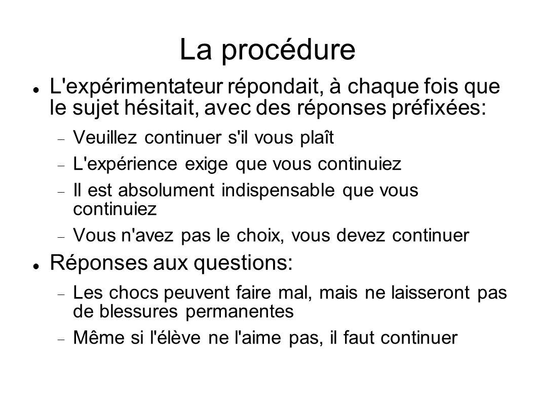 La procédure L'expérimentateur répondait, à chaque fois que le sujet hésitait, avec des réponses préfixées: Veuillez continuer s'il vous plaît L'expér