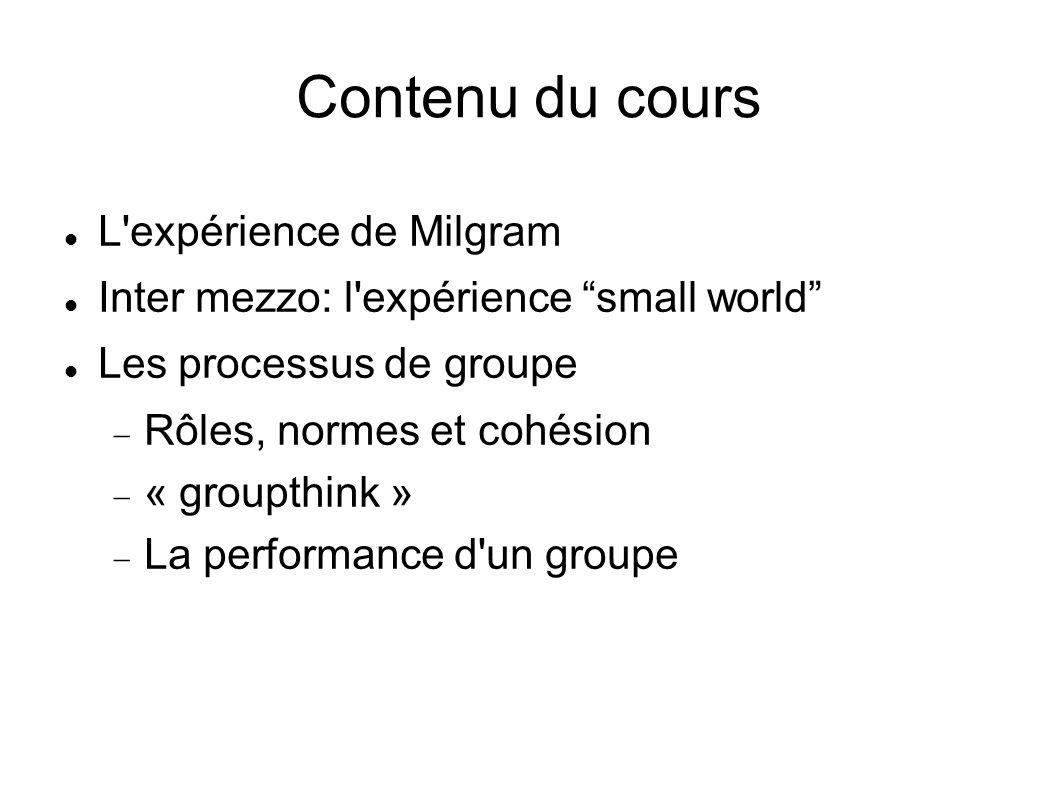 Contenu du cours L'expérience de Milgram Inter mezzo: l'expérience small world Les processus de groupe Rôles, normes et cohésion « groupthink » La per