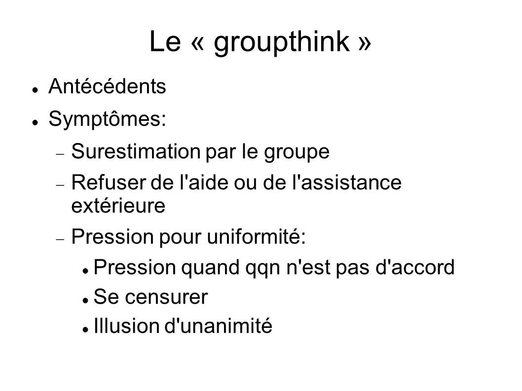 Le « groupthink » Antécédents Symptômes: Surestimation par le groupe Refuser de l'aide ou de l'assistance extérieure Pression pour uniformité: Pressio