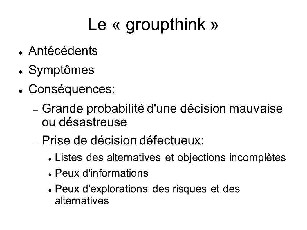 Le « groupthink » Antécédents Symptômes Conséquences: Grande probabilité d'une décision mauvaise ou désastreuse Prise de décision défectueux: Listes d