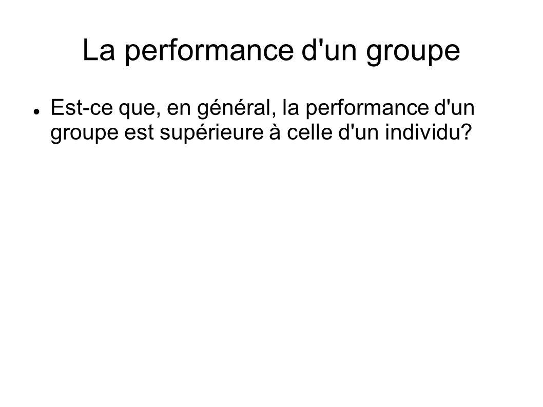 La performance d'un groupe Est-ce que, en général, la performance d'un groupe est supérieure à celle d'un individu?