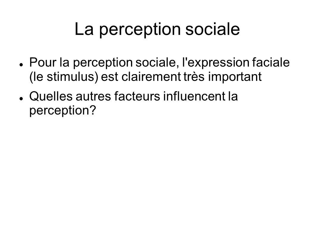 La perception sociale Pour la perception sociale, l'expression faciale (le stimulus) est clairement très important Quelles autres facteurs influencent
