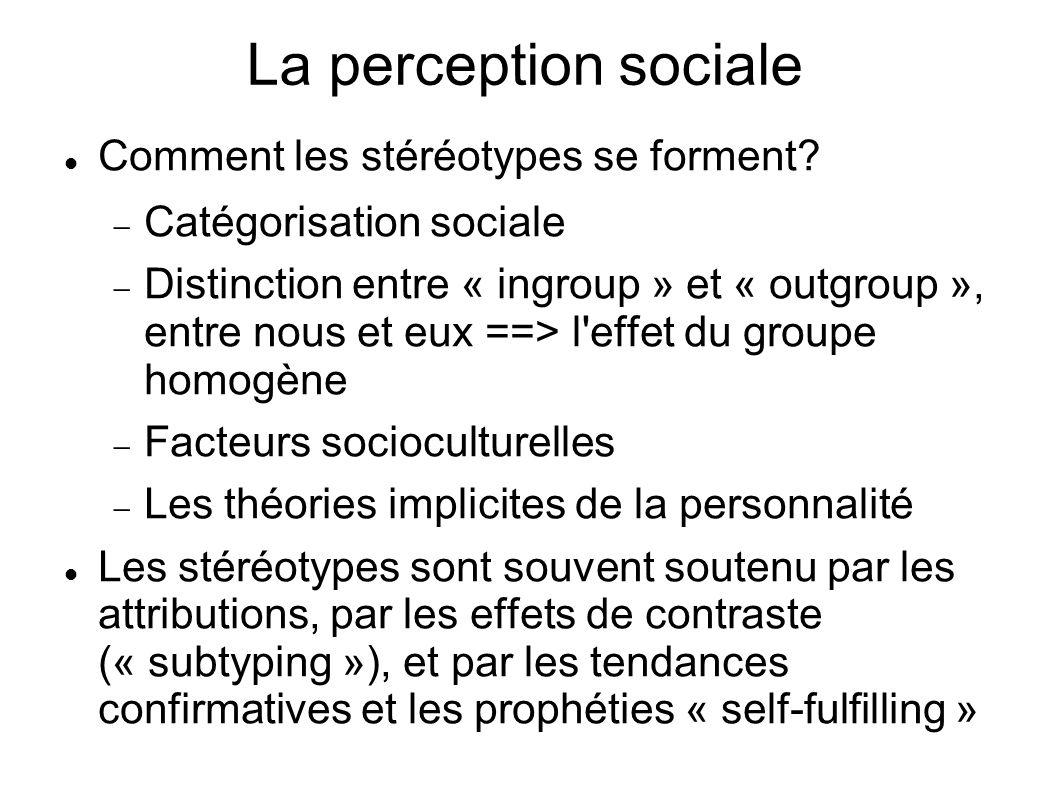 La perception sociale Comment les stéréotypes se forment? Catégorisation sociale Distinction entre « ingroup » et « outgroup », entre nous et eux ==>