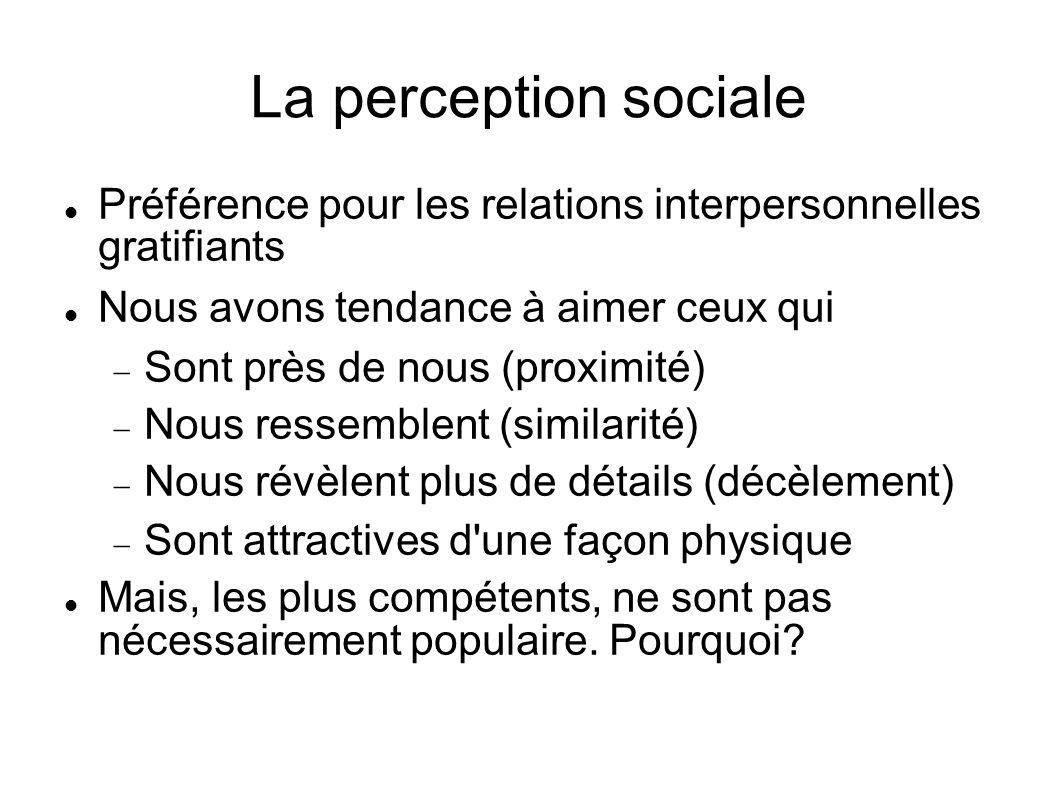 La perception sociale Préférence pour les relations interpersonnelles gratifiants Nous avons tendance à aimer ceux qui Sont près de nous (proximité) N