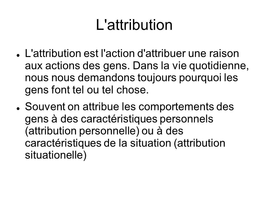 L'attribution L'attribution est l'action d'attribuer une raison aux actions des gens. Dans la vie quotidienne, nous nous demandons toujours pourquoi l