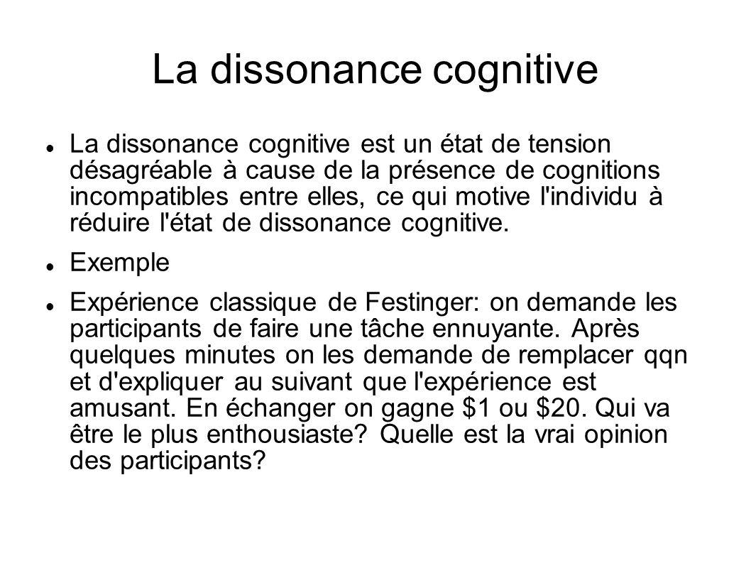 La dissonance cognitive La dissonance cognitive est un état de tension désagréable à cause de la présence de cognitions incompatibles entre elles, ce