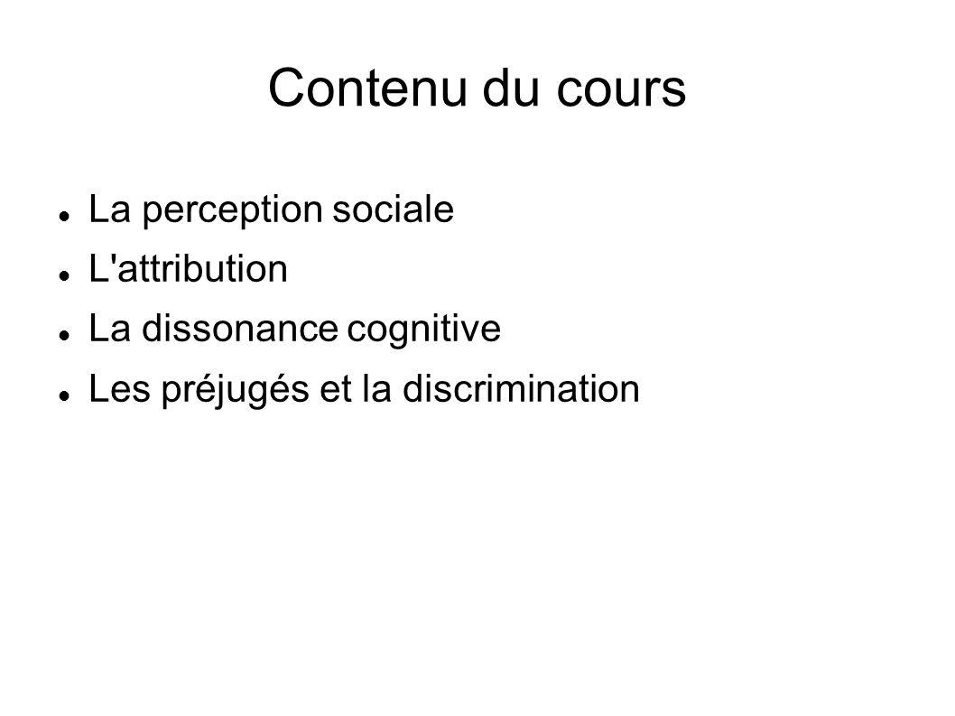Contenu du cours La perception sociale L'attribution La dissonance cognitive Les préjugés et la discrimination
