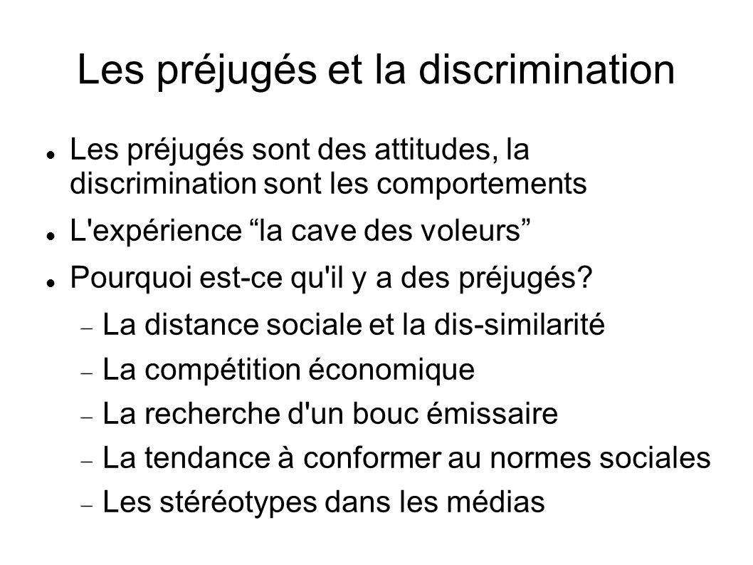 Les préjugés et la discrimination Les préjugés sont des attitudes, la discrimination sont les comportements L'expérience la cave des voleurs Pourquoi