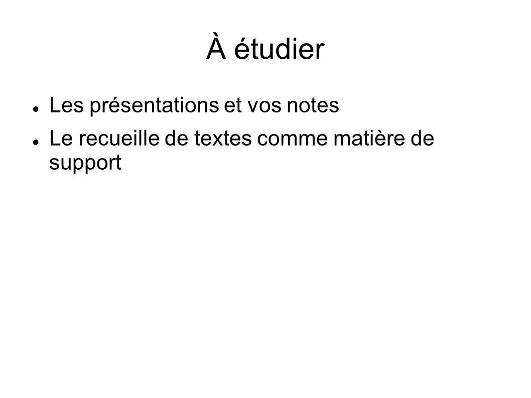 À étudier Les présentations et vos notes Le recueille de textes comme matière de support