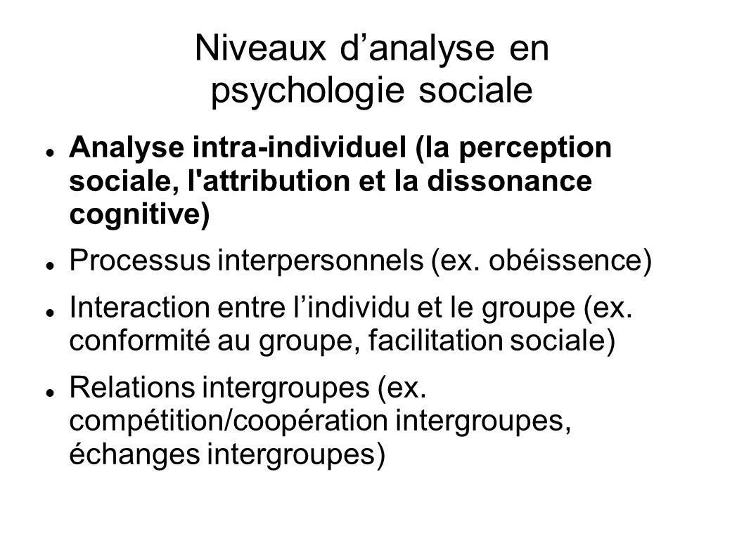 Niveaux danalyse en psychologie sociale Analyse intra-individuel (la perception sociale, l'attribution et la dissonance cognitive) Processus interpers