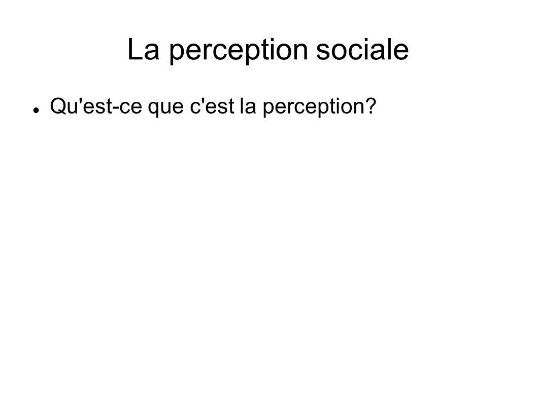 La perception sociale Qu'est-ce que c'est la perception?