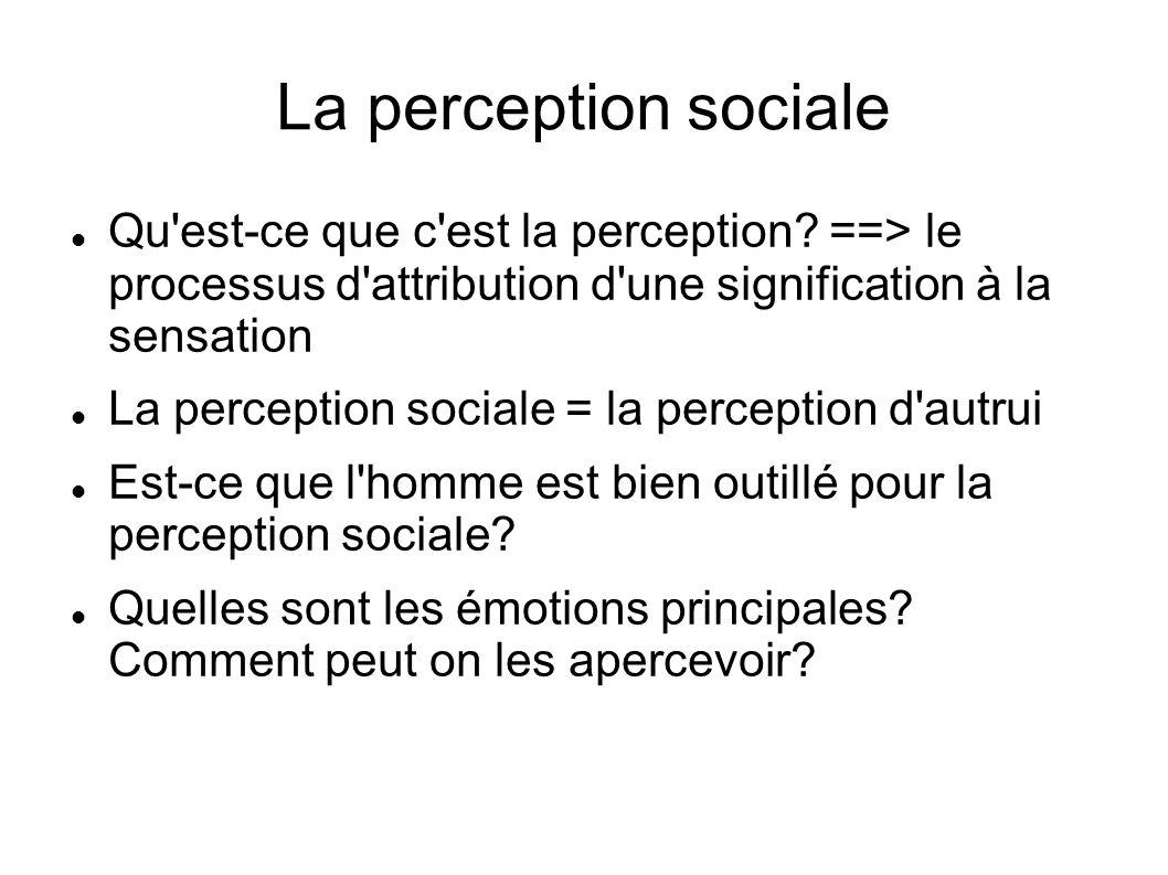 La perception sociale Qu'est-ce que c'est la perception? ==> le processus d'attribution d'une signification à la sensation La perception sociale = la