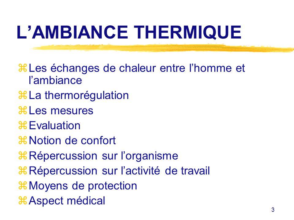 3 LAMBIANCE THERMIQUE zLes échanges de chaleur entre lhomme et lambiance zLa thermorégulation zLes mesures zEvaluation zNotion de confort zRépercussio
