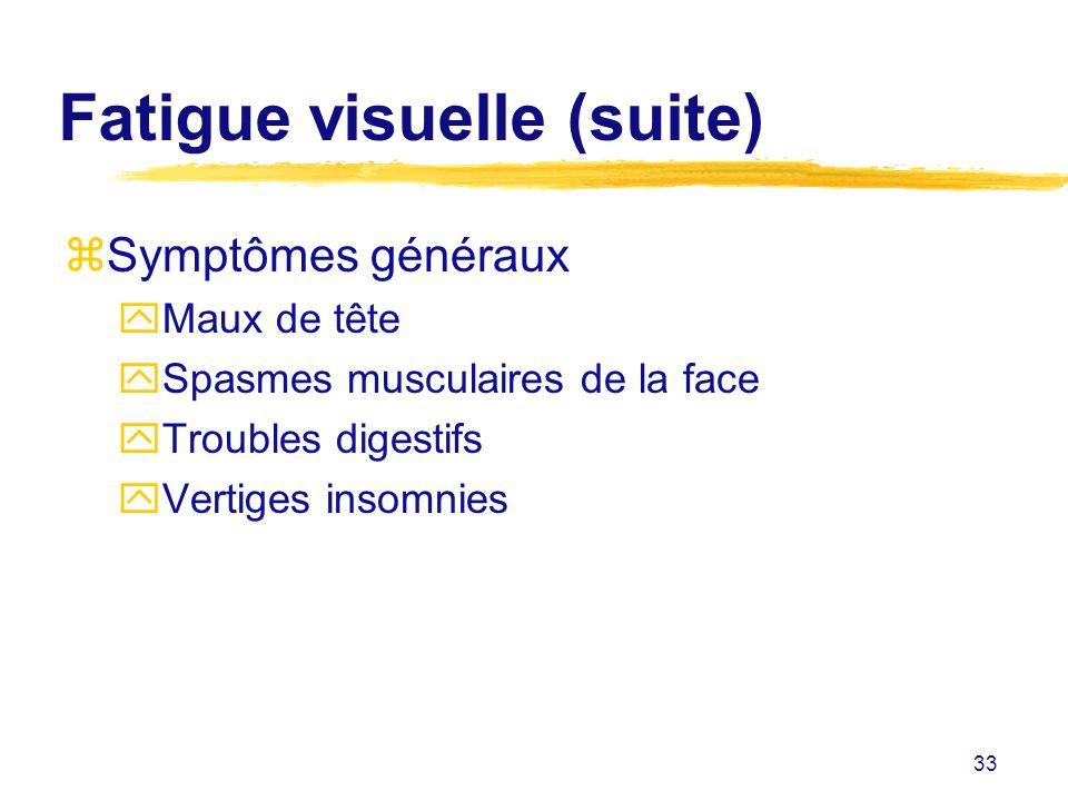 33 Fatigue visuelle (suite) zSymptômes généraux yMaux de tête ySpasmes musculaires de la face yTroubles digestifs yVertiges insomnies