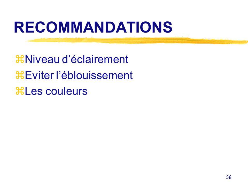 38 RECOMMANDATIONS zNiveau déclairement zEviter léblouissement zLes couleurs