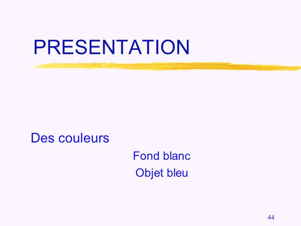 44 PRESENTATION Des couleurs Fond blanc Objet bleu