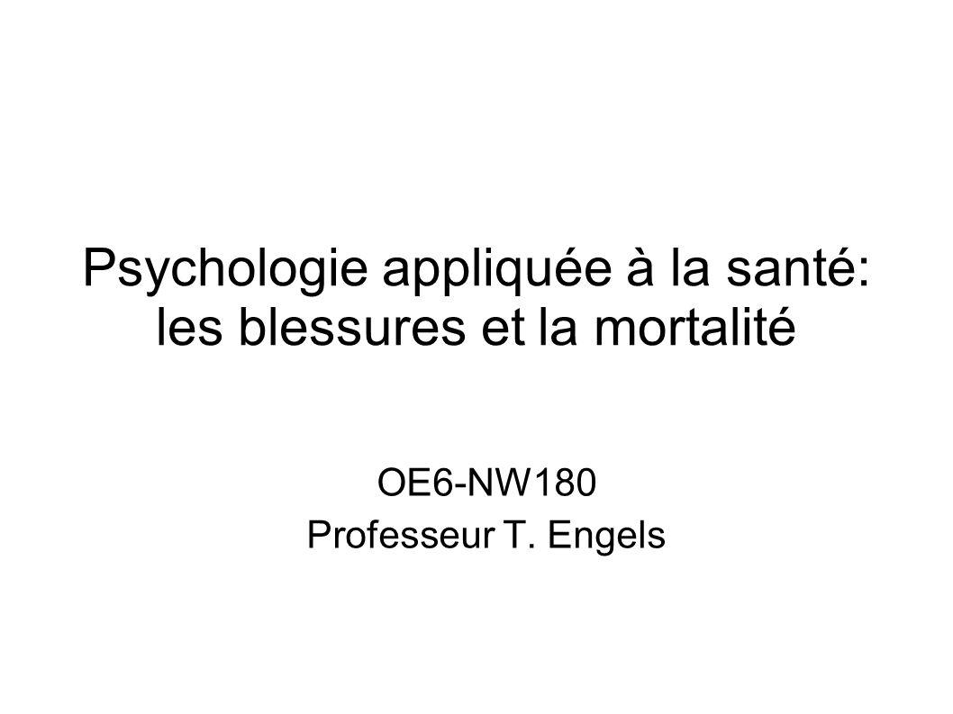 Psychologie appliquée à la santé: les blessures et la mortalité OE6-NW180 Professeur T. Engels