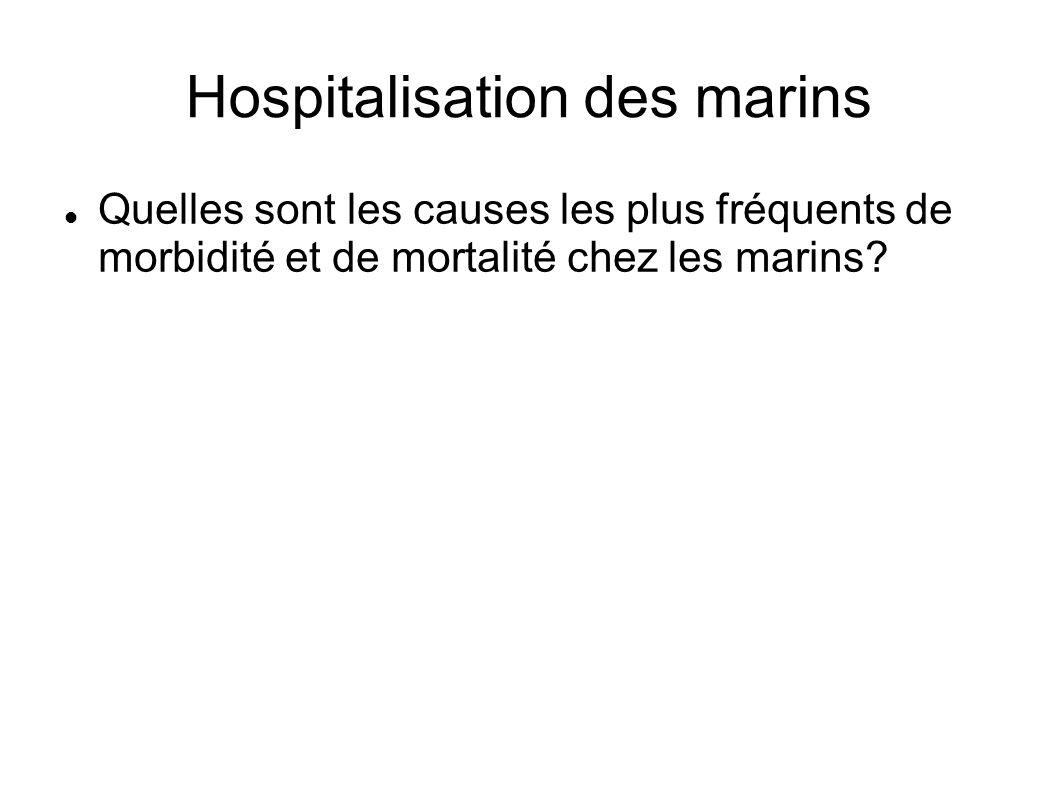 Hospitalisation des marins Quelles sont les causes les plus fréquents de morbidité et de mortalité chez les marins?