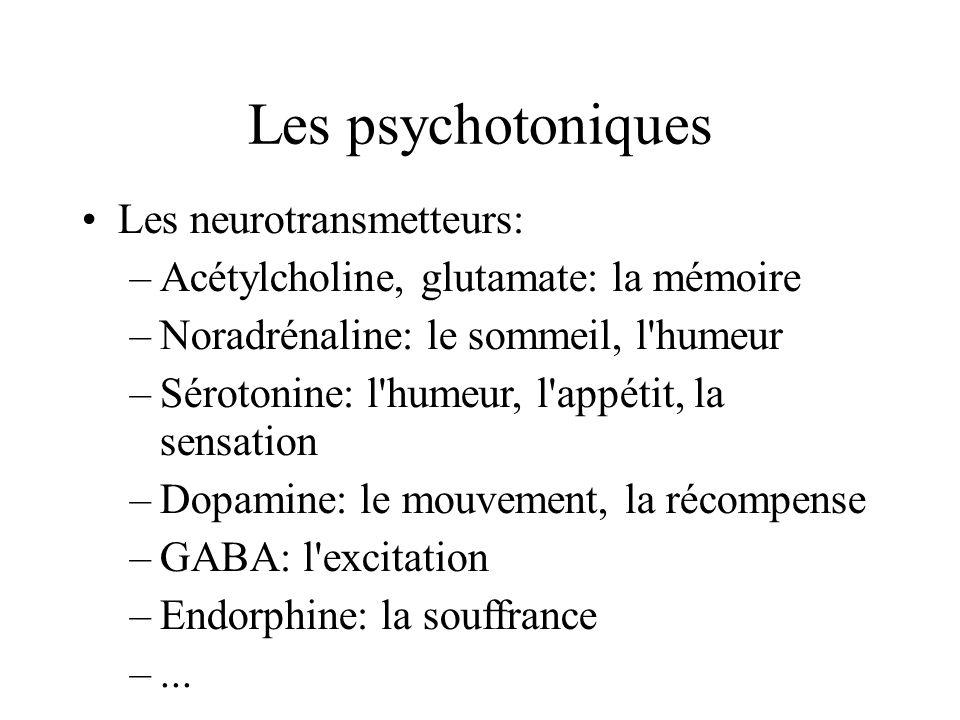 Les psychotoniques Les neurotransmetteurs: –Acétylcholine, glutamate: la mémoire –Noradrénaline: le sommeil, l'humeur –Sérotonine: l'humeur, l'appétit