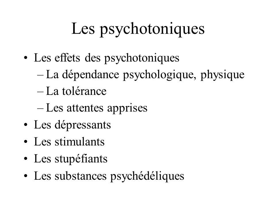Les psychotoniques Les effets des psychotoniques –La dépendance psychologique, physique –La tolérance –Les attentes apprises Les dépressants Les stimu