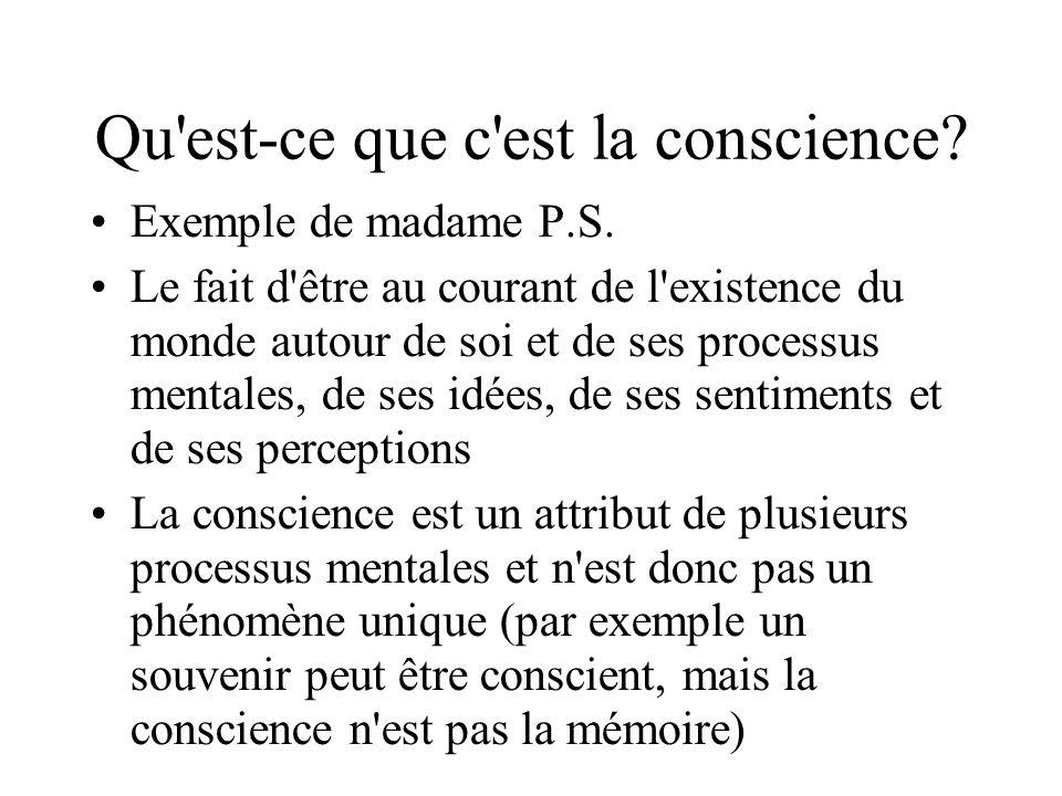 La recherche de la conscience Le structuralisme: l introspection (Wundt) Le fonctionnalisme: James Le béhaviorisme: Watson, Skinner Les grandes questions: –Le corps et l esprit: matérialisme vs dualisme –Est-ce que d autres animaux ont aussi un conscience.