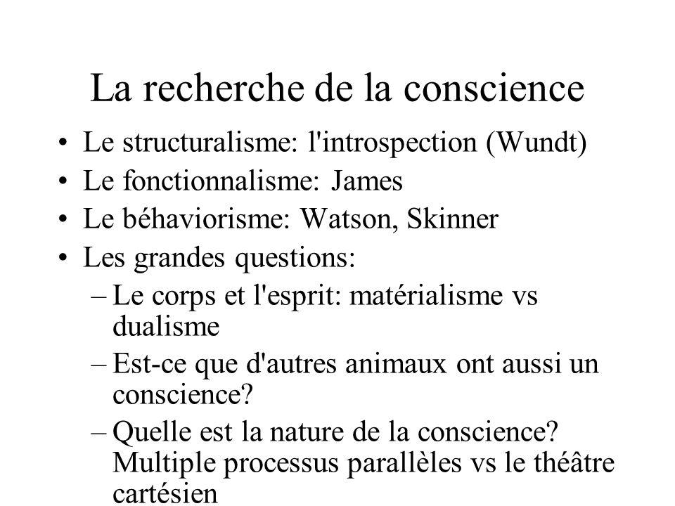 La recherche de la conscience Le structuralisme: l'introspection (Wundt) Le fonctionnalisme: James Le béhaviorisme: Watson, Skinner Les grandes questi