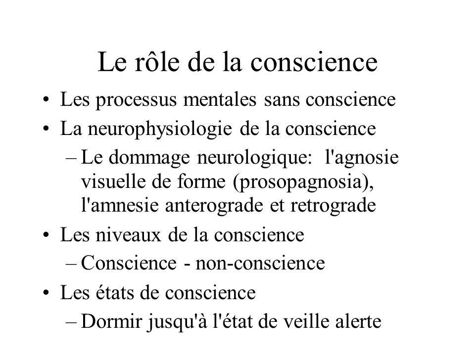 Le rôle de la conscience Les processus mentales sans conscience La neurophysiologie de la conscience –Le dommage neurologique: l'agnosie visuelle de f