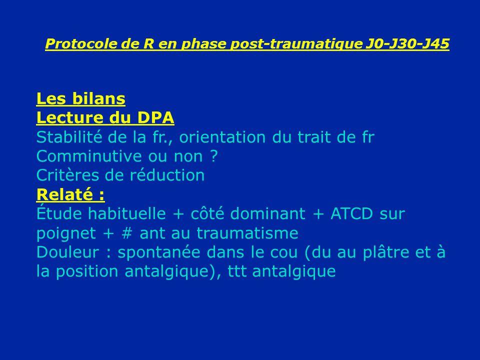 Protocole de R en phase post-traumatique J0-J30-J45 Les bilans Lecture du DPA Stabilité de la fr., orientation du trait de fr Comminutive ou non ? Cri