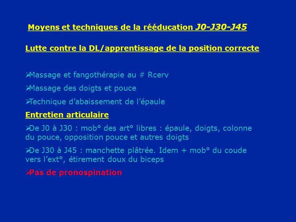 Moyens et techniques de la rééducation J0-J30-J45 Lutte contre la DL/apprentissage de la position correcte Massage et fangothérapie au # Rcerv Massage