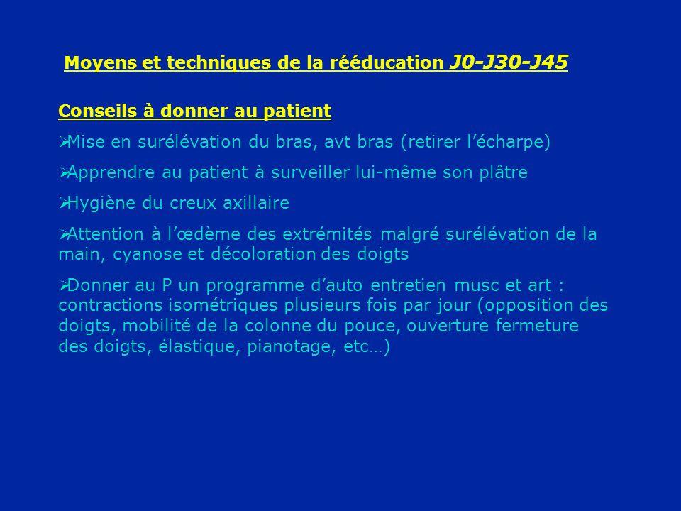 Moyens et techniques de la rééducation J0-J30-J45 Conseils à donner au patient Mise en surélévation du bras, avt bras (retirer lécharpe) Apprendre au