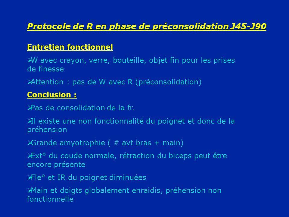 Protocole de R en phase de préconsolidation J45-J90 Entretien fonctionnel W avec crayon, verre, bouteille, objet fin pour les prises de finesse Attent