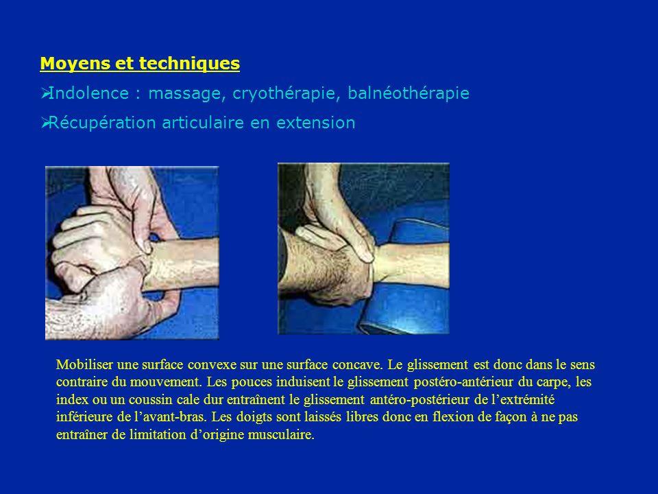 Moyens et techniques Indolence : massage, cryothérapie, balnéothérapie Récupération articulaire en extension Mobiliser une surface convexe sur une sur