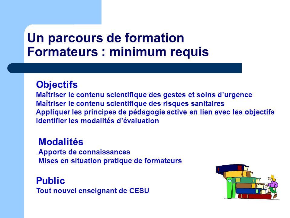 Un parcours de formation Formateurs : minimum requis Objectifs Maîtriser le contenu scientifique des gestes et soins durgence Maîtriser le contenu sci