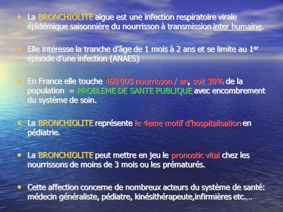 La BRONCHIOLITE aigue est une infection respiratoire virale épidémique saisonnière du nourrisson à transmission inter humaine.