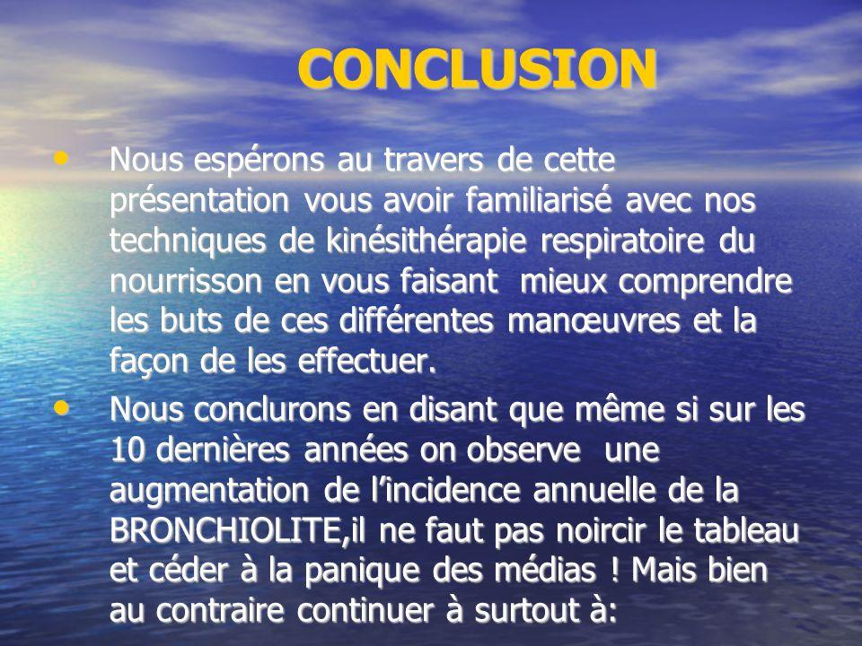 CONCLUSION CONCLUSION Nous espérons au travers de cette présentation vous avoir familiarisé avec nos techniques de kinésithérapie respiratoire du nourrisson en vous faisant mieux comprendre les buts de ces différentes manœuvres et la façon de les effectuer.