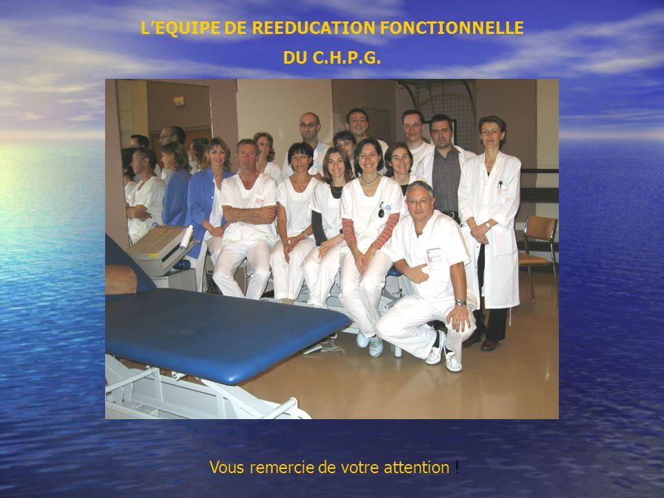 LEQUIPE DE REEDUCATION FONCTIONNELLE DU C.H.P.G. Vous remercie de votre attention !