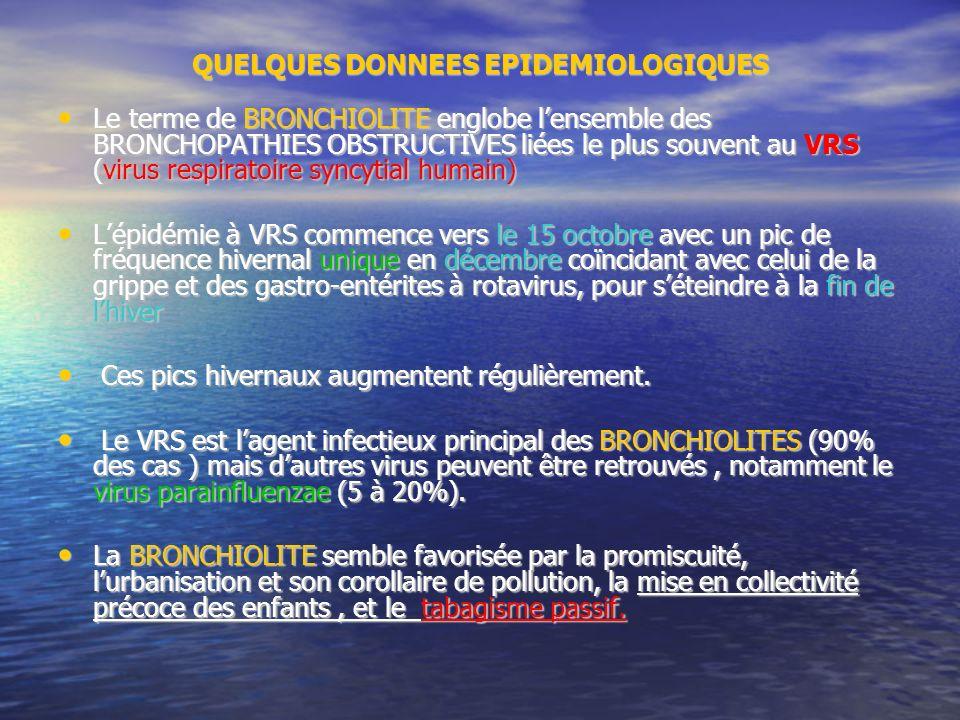 QUELQUES DONNEES EPIDEMIOLOGIQUES Le terme de BRONCHIOLITE englobe lensemble des BRONCHOPATHIES OBSTRUCTIVES liées le plus souvent au VRS (virus respiratoire syncytial humain) Le terme de BRONCHIOLITE englobe lensemble des BRONCHOPATHIES OBSTRUCTIVES liées le plus souvent au VRS (virus respiratoire syncytial humain) Lépidémie à VRS commence vers le 15 octobre avec un pic de fréquence hivernal unique en décembre coïncidant avec celui de la grippe et des gastro-entérites à rotavirus, pour séteindre à la fin de lhiver Lépidémie à VRS commence vers le 15 octobre avec un pic de fréquence hivernal unique en décembre coïncidant avec celui de la grippe et des gastro-entérites à rotavirus, pour séteindre à la fin de lhiver Ces pics hivernaux augmentent régulièrement.