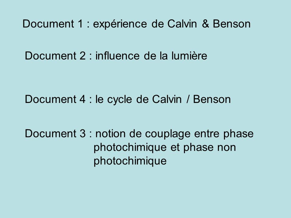 Document 1 : expérience de Calvin & Benson Document 2 : influence de la lumière Document 4 : le cycle de Calvin / Benson Document 3 : notion de coupla