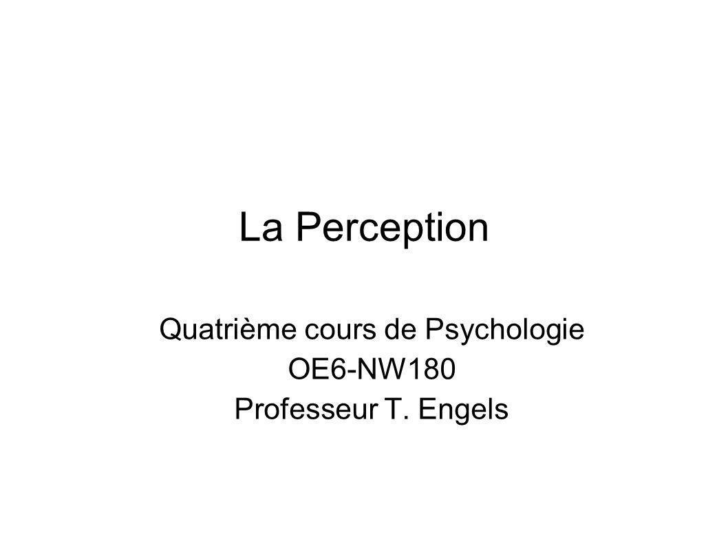 Contenu du cours Questions du cours du 14/2 La perception