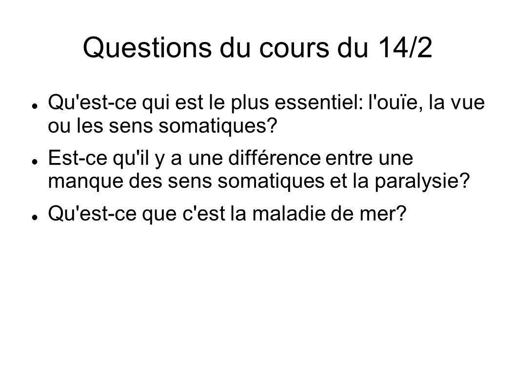Questions du cours du 14/2 Qu est-ce qui est le plus essentiel: l ouïe, la vue ou les sens somatiques.
